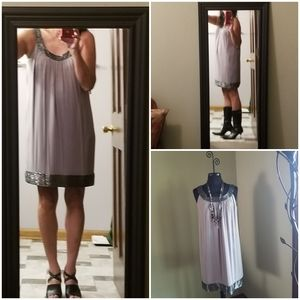Arianna Papell Beaded Gray Silk Cocktail Dress NWT